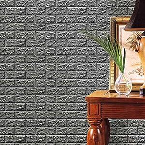 FAMILIZO PE de Espuma de 3D Wallpaper DIY Pared Pegatinas Decoración de Pared en Relieve Piedra de ladrillo (60_x_60_cm, Gris)