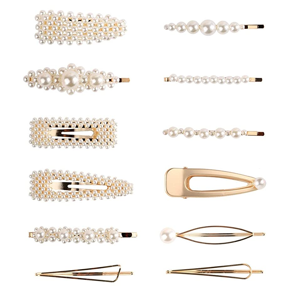 MORYSONG Pearl Hair Clips Hairpins for Women and Girls, 12pcs Sweet Artificial Pearl Alligator Clips Hair Barrettes Big Hairgrips, Decorative Headwear Hair Accessories for Birthday Valentines Day Gift