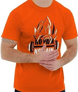No Pain No Gain Nerdy Anime Gym Motivation T Shirt Tee