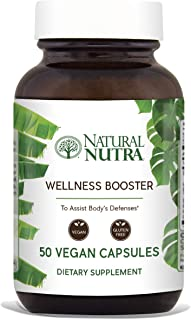 Natural Nutra Wellness and Immune Booster Herbal Extract: Echinacea, Goldenseal, Ginger, Licorice Root, Cayenne, Reishi and Shiitake Powder, Fennel, Red Clover, Chamomile, Parsley, 50 Vegan Capsules