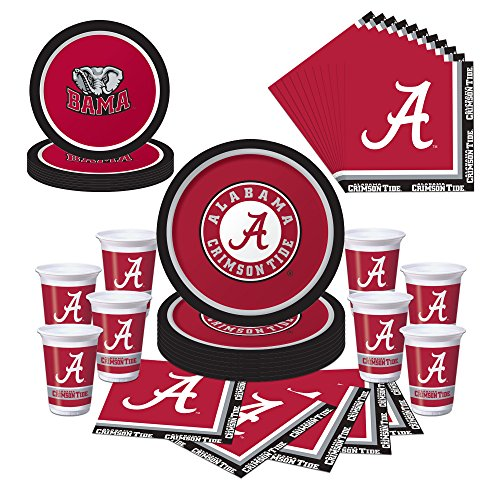Alabama Crimson Tide Party Pack - Plates, Napkins, Cups - Serves 8