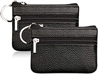 Hibate (2 Pack) Mini Coin Purse Holder Wallet Leather Purses for Women Men Kids Zipper Pouch with Key Ring - Black