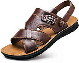 Chinashow Mens Leather Summer Outdoor Sandals Slipper- Large Size New Non-Slip Fashion Cowhide Beach Sandals