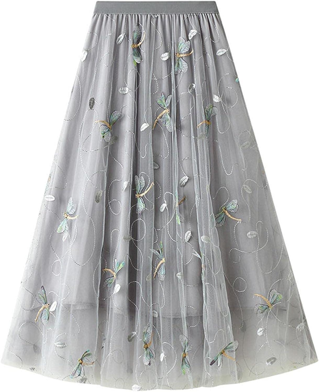 Women's Tulle Skirt High Waist Chiffon Embroidered A-Line Long Skirt Girl Summer