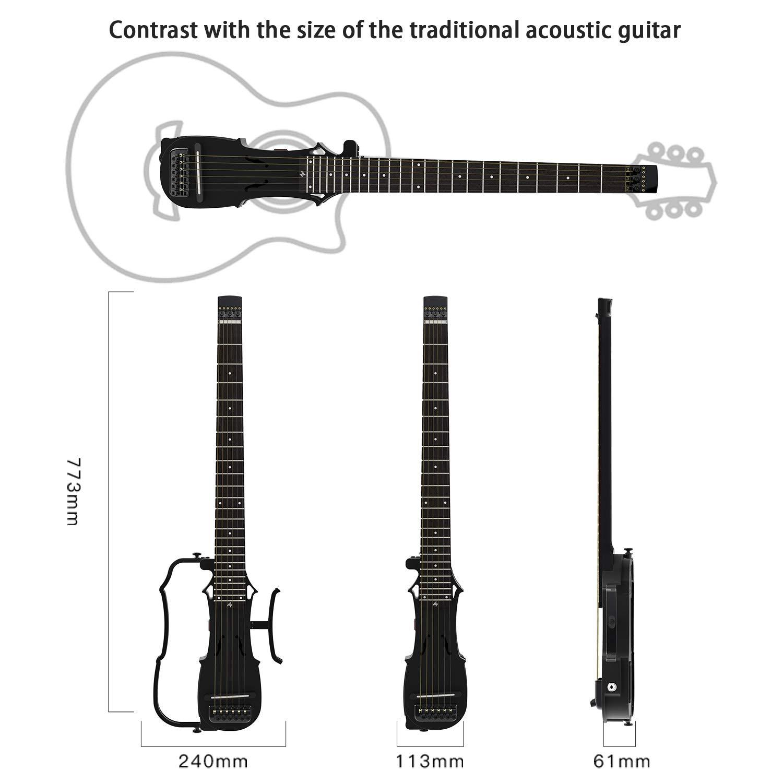 Asmuse Guitarra Acústica de Viaje Plegable con Auriculares AMP ...