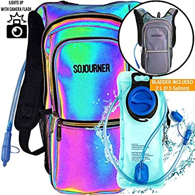 SoJourner Bags Rave Hydration Pack Backpack - 2L Water Bladder Included for Festivals, Raves, Hiking, Biking, Climbing & Running (Luminous - Green)