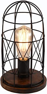 Surpars House Wood Retro Table Lamp Metal Shade Edison Bulb Included Warm White Light,Black