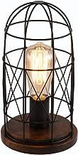 Surpars House Wood Retro Table Lamp Metal Shade Edison Bulb Included Warm White Light,Black