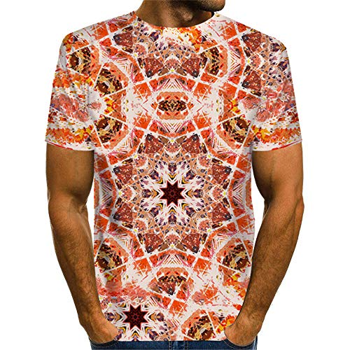 YLBH Sommer Herren T-Shirt 3D Geometrischen Digitaldruck Kurzarm T-Shirt LäSsig Top Bluse Kurzarm Sommer 3D Druck Sweatshirt Kurzarmhemd Slim Fit Motive Top Rundhals Orange 5XL