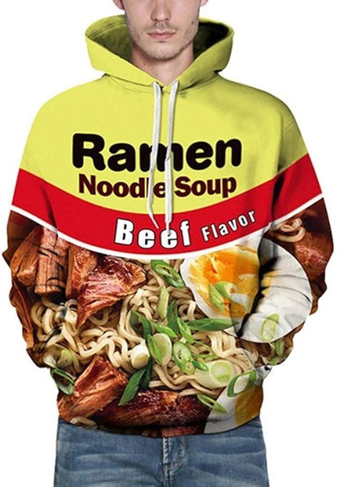 Wowcarbazole Men's Printed Pullover Ramen Realistic Hoodies 3D D List Cheap mail order shopping price