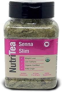 NUTRITEA Organic Senna Slim, 3 oz(85 gm) Full Leaf Gourmet Jar - Makes 42 Cups - Low Caffeine - Nutrient Enriched