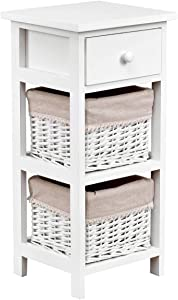 Giantex Wooden Nightstand Chest Cabinet W/Two Rattan Baskets for Bedroom, Living Room Home Furniture Storage Bedside End Table (1)