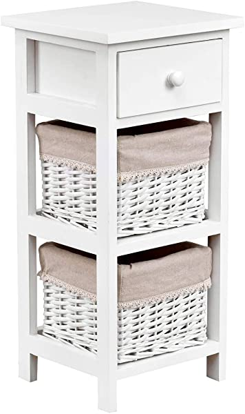 Giantex Wooden Nightstand Chest Cabinet W Two Rattan Baskets For Bedroom Living Room Home Furniture Storage Bedside End Table 1