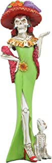 Ebros Gift Day of The Dead DOD Skeleton Lady Fiona with Green Cocktail Gown Figurine 12.5