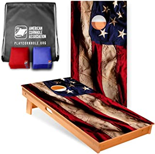 Official Cornhole Boards & Bags Set - American Cornhole Association - American Flag Design - Heavy Duty Wood Construction - Regulation Size Bean Bag Toss for Adults, Kids - Lawn, Tailgate, Camping