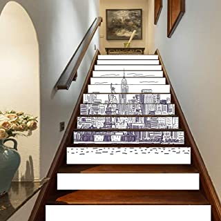 Marteylink New York Staircase Stickers,Sketchy Simple View of NYC Statue of Liberty Freedom Symbol Ellis Island Print Self-Adhesive Wall Stair Stickers Mural Wallpaper for Home Decor,39.3