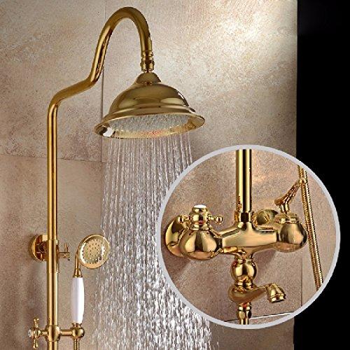 ZHGI Tutto-rame antico doccia, calda e fredda doccia impostare, valvola acqua miscelata sotto il rubinetto dell'acqua calda e fredda