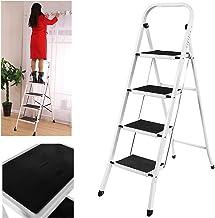 4 Stufen Klappstufen Trittleiter Klappbar Leichte Stehleiter Anti-Rutsch-Schritte f/ür die Reinigung der K/üche im Home Office Dekorieren Lackieren 150 kg max Belastung