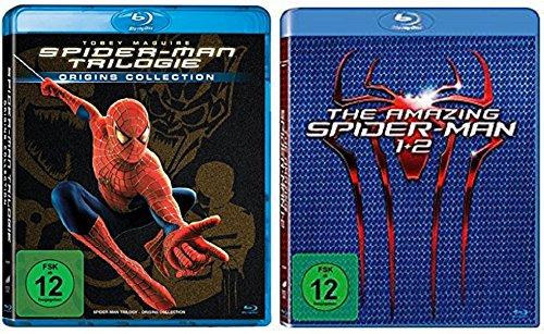 Spider-Man 1+2+3 + The Amazing Spider-Man 1+2 / Blu-ray Set / 5 Filme