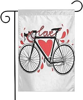 Zzmdear Custom Garden Flag, Yard Decor, Bike Illustration with Love Heart and Drops Modern Hipster Fashion Retro Artwork, Orange Black, 12