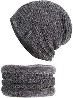 Beanie Hat Scarf Set Thick Knit Cap Hedging Head Hat+Scarf Warm Winter Hat for Unisex