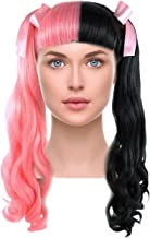 Long Curly Ponytail Wig with Bangs Ribbon Bows for Pop Singer Cosplay Costume Party Pink/Black