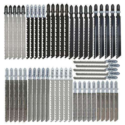 55pcs T-shank Jigsaw Blade Set, T Shank High Carbon Steel Jigsaw Blades Set Fast Cut Down Assorted Blades for Wood, Plastic and Metal Cutting