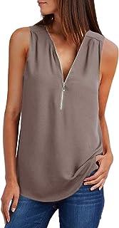 ZKESS Womens Casual Sleeveless V Neck Cuffed Pleated Zip Up Chiffon Blouse Shirts