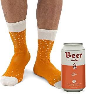 Luckies of London Calcetines divertidos para hombres, en lata de cerveza, Naranja, 41-45 EU (7-11 UK)