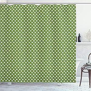 ABAKUHAUS Verde Cortina de Baño, Blanca Simple de los Lunares, Material Resistente al Agua Durable Estampa Digital, 175 x 200 cm, Verde Verde Oliva y Negro