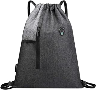 Peicees Drawstring Backpack Sports Gym Bag for Women Men Waterproof Lightweight Small Cinch Sack with Zipper and Water Bottle Mesh Pockets
