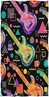 REFFW Multipurpose Guest Soft Large Decorative Highly Absorbent Bath Towels Hand for Home Bathroom Hotel Gym Spa Shepherd Fashion Colors Guitars