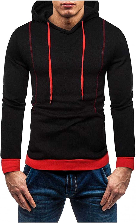 Hoodies for Men Men's Contrasting Striped Pocket Top Slim Fit Hooded Sweatshirt Fleece Hooded Fashion Hoodies Sweatshirts