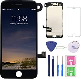 Screen Replacement for iPhone 7 Black, LCD Display and Touch Screen Digitizer Replacement with Repair Tools and Screen Protector with A1660 A1779 A1778 All Version