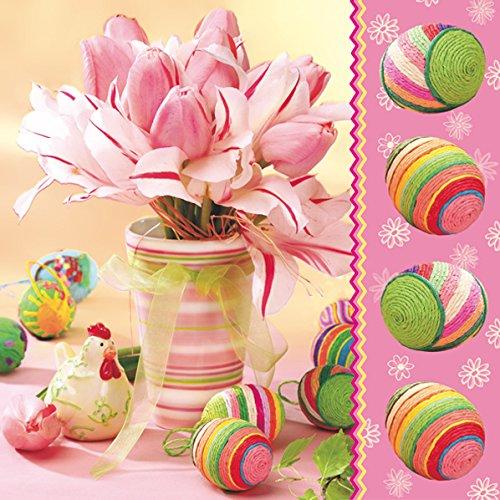 Servetten Napkins 33x33cm servettechniek Pasen vaas met roze tulpen