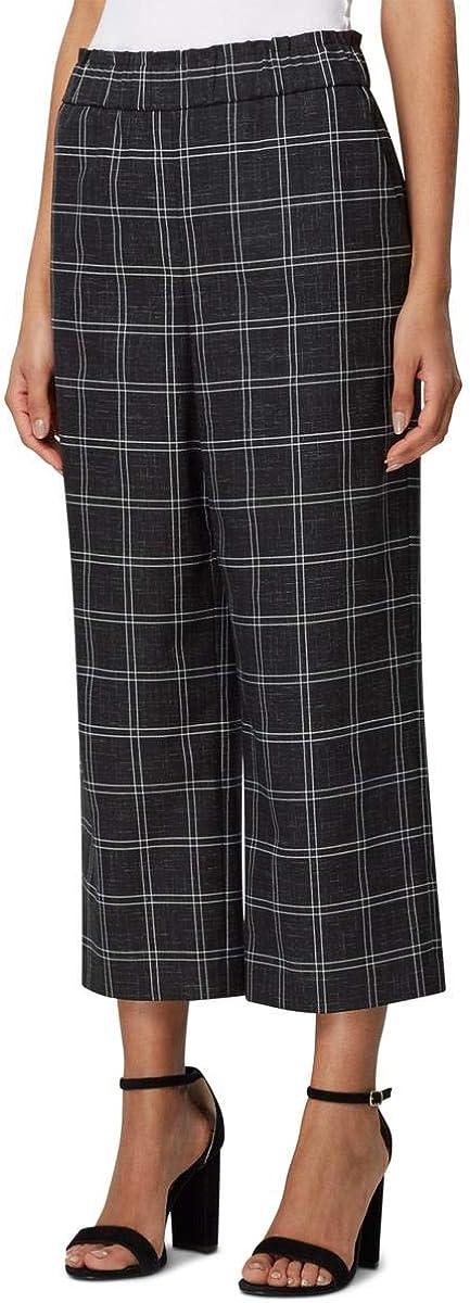 Tahari ASL Womens Wide Leg High Rise Ankle Pants B/W 6 Black/White