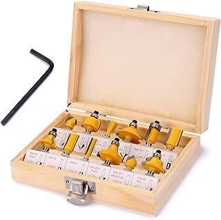 jeerbly Juego de 12 fresas de 8 mm, vástago sellado, rodamientos, fresa de madera, fresa de regalo, con caja para carpintería, carpintería, carpintería, edición de madera