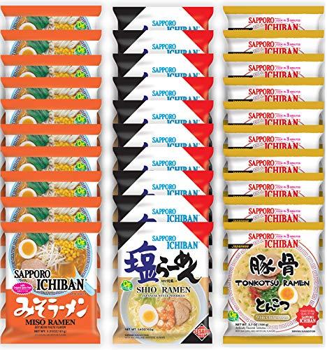 Sapporo Ichiban Variety Flavors Mix Packs Instant Ramen Noodles, Tonkotsu, Shio, and Miso Flavors...