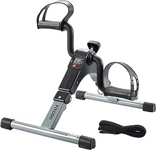 FITODO Pedales Estaticos Ejercicio de Mini Bicicleta con Monitor LCD para Pierna y el Brazo de Rehabilitación(Gris)