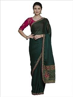 45cc0a0da6 Akhilam Women's Satin Silk Saree with Blouse Piece (Olive Green_Free Size)