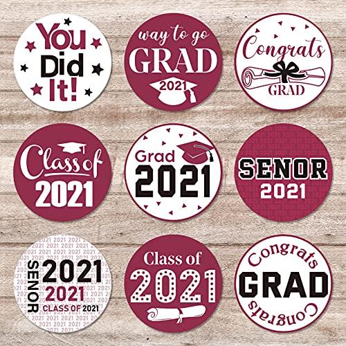 500 Decoraciones de Graduación 2021 Pegatinas Etiquetas Grandes de Felicitaciones Suministros de Fiesta de Class of 2021 para Decoarción Celebración Graduación (Estilo de Granate) ⭐