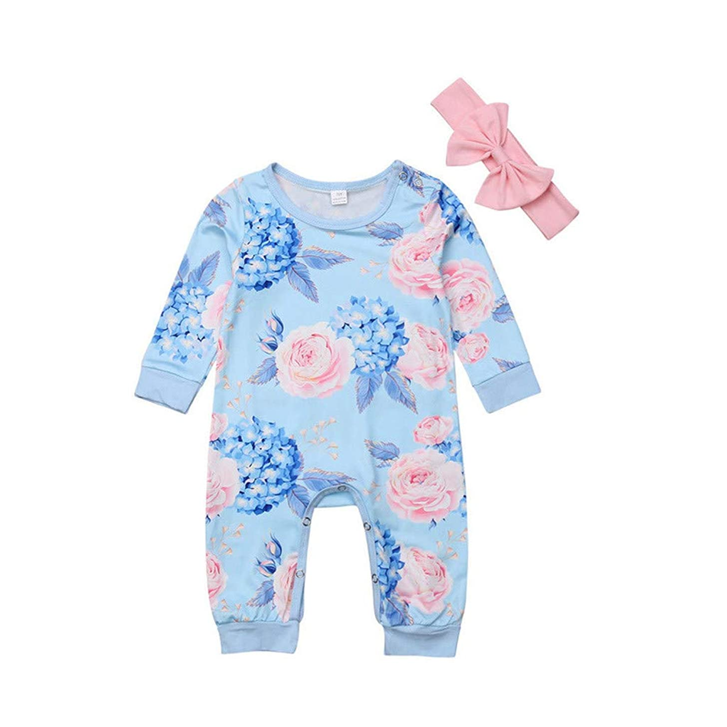 MOVEmen Baby Girl Cotton Floral Printing Romper Jumpsuit+Bow Hair Band Clothes Sets T-Shirt Leisure Sportswear