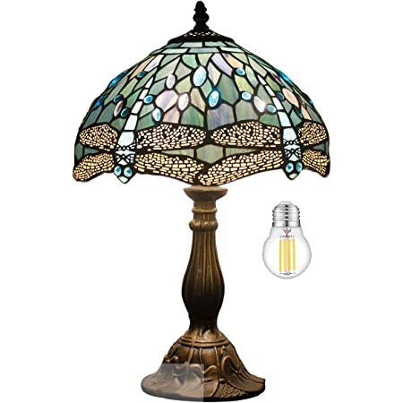 """Tiffany Lamp Table Lamp Sea Blue Stained Glass Dragonfly Style Luxurious Boho Banker Memory Lamp Sympathy Nightstand Reading Desk Light 18"""" Tall WERFACTORY Bedside Bedroom Living Room Farmhouse Hotel"""