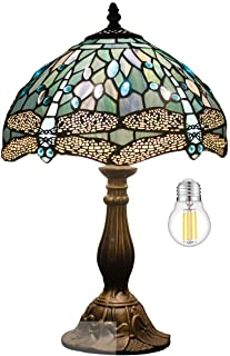 Tiffany Table Lamp W12H18 Inch Tall(LED Bulb Included)Sea Blue Stained Glass Dragonfly Style Shade Antique Base S147 WERFA...