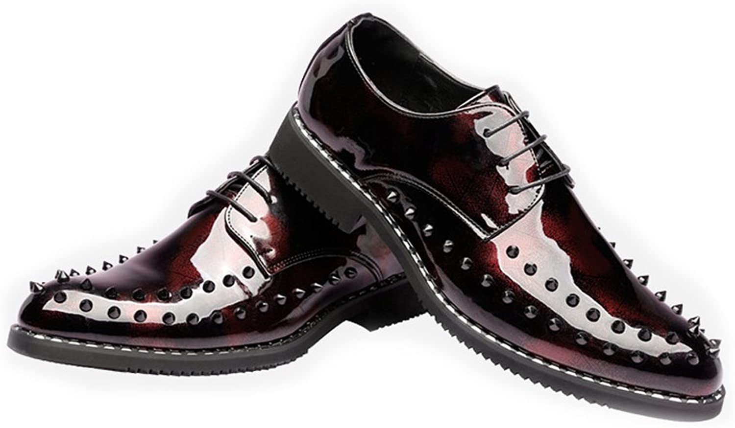 YongYeYaoBEN Fashion Punk Style Lace Up Men's shoes Smooth PU Leather Prom Loafer Breathable Lined Oxfords with Rivets
