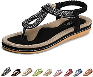 Women's Flat Sandals, Summer Beach Flip Flops Thong T-Strap Flat Rhinestone Beads Slipper Bohemia Elastic Slip On