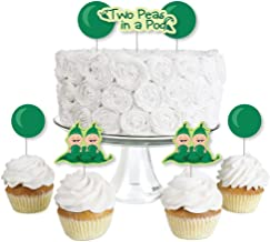 Big Dot of Happiness Twins Two Peas in a Pod - Dessert Cupcake Toppers - Baby Shower or First Birthday Party Clear Treat Picks - Set of 24