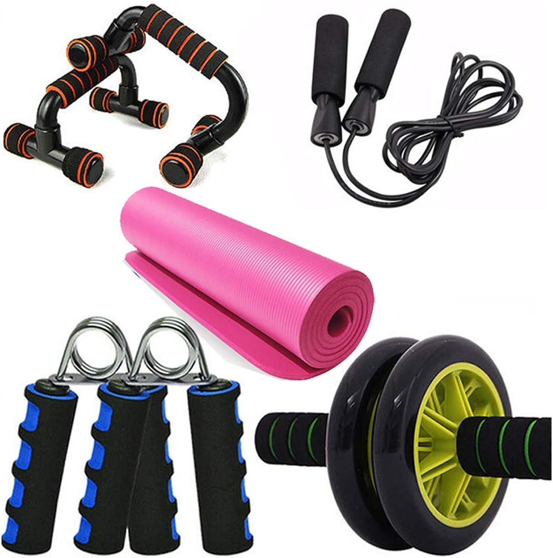 Fitnessübungen Starter Kit 5pcs -Yoga Gymnastikmatte,Set Essentielle Anfnger Bundle Enthalten ,Springseil,Push-Up Stand Bar Rutschfest mit Schaumpolster,Fingerhantel Handtrainer,Bauchtraining
