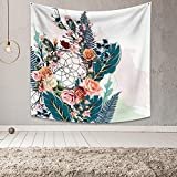 OFila Dreamcatcher Tapestry Watercolor Charming Rose Flowers and Plant Leaves Fantasy Bohemian Psychedelic Feathers Dream Catcher Wall Hanging Tapestry for Home Living Room Dorm Decor 59.1x59.1 Inch