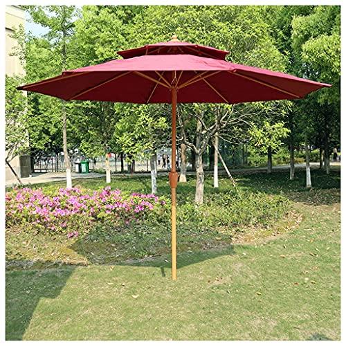 Bktmen Paraguas al Aire Libre, 270cm Centro de Color de Madera Pilar Pilar Parasol Ensamblaje Easy, Jardín Parasol Umbrella para Piscina Playa Patio Garden (Color : Red)